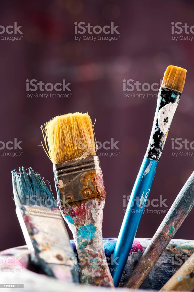 Artist's paintbrushes with equipments - Royalty-free Art Stock Photo