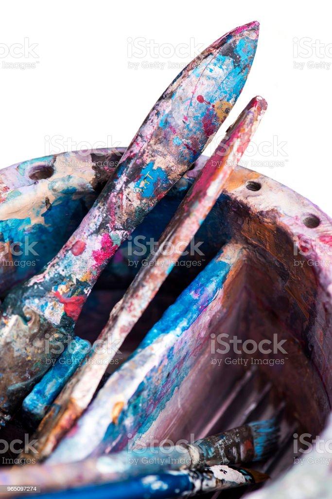 Artist's paintbrushes with equipments zbiór zdjęć royalty-free