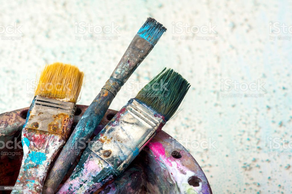 Artist's paintbrushes with equipments royalty-free stock photo