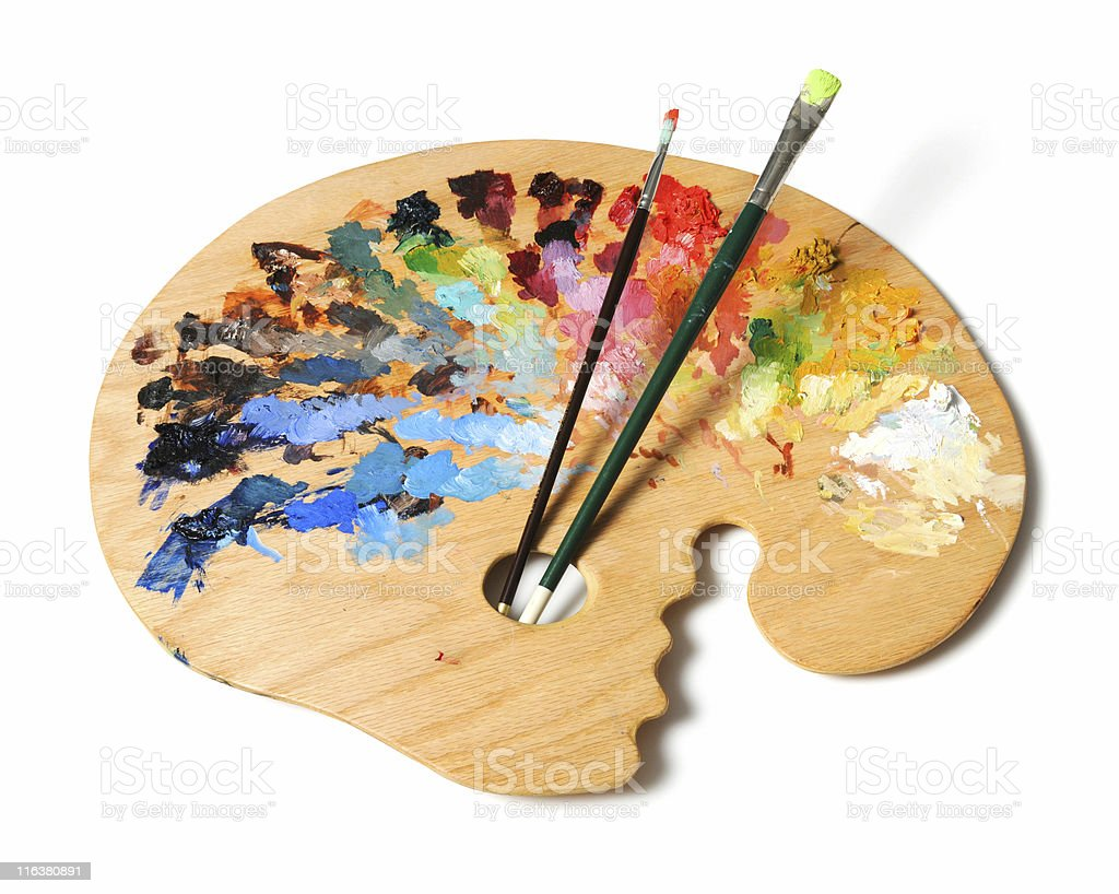 artists palette and brushes stock photo more pictures of art istock. Black Bedroom Furniture Sets. Home Design Ideas