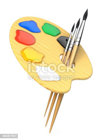 493201681 istock photo Artist's palette with brushes 94097822