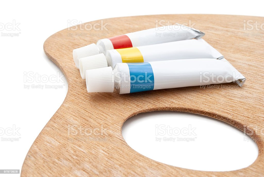 Artist's Palette with Paint Tubes royalty-free stock photo
