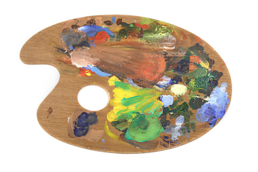 Wooden artist's pallette with acryllic/oil paints