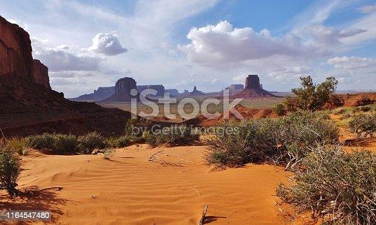 Artist's Point towards East Mitten Butte, Navajo Tribal Park, Monument Valley, Utah, USA