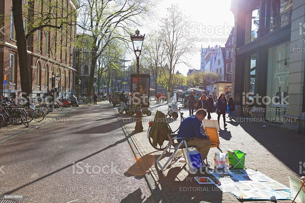 Artists selling paintings, Amsterdam, Netherlands foto de stock royalty-free