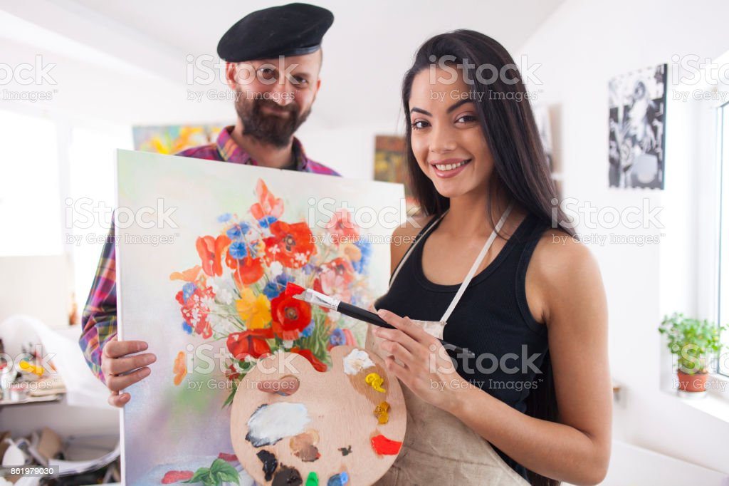 Artists showing flowers painting stock photo