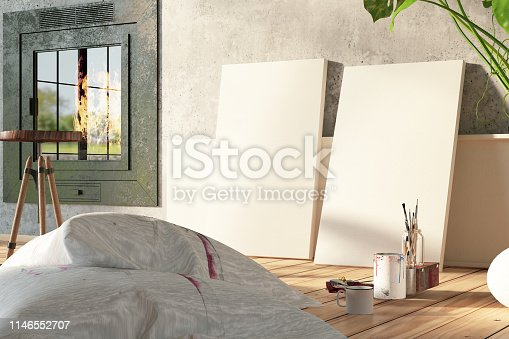 istock Artist's Studio. Empty Canvas and Paintings 1146552707