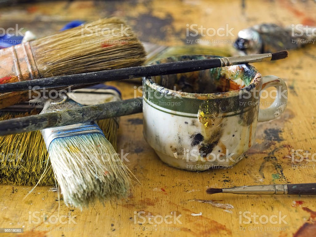 Artist's table royalty-free stock photo