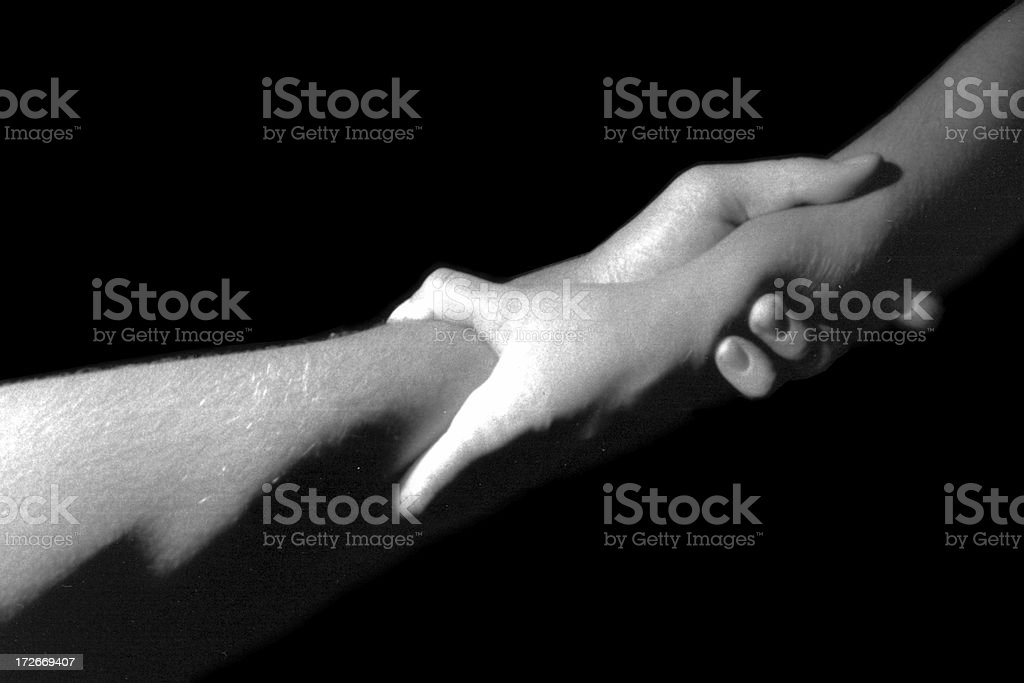 Artists' Two wrists shaking. Old school. royalty-free stock photo