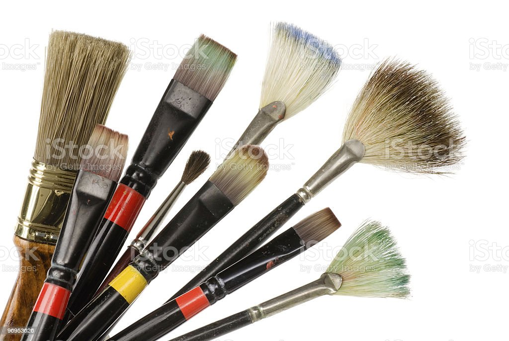 Artist's used brushes royalty-free stock photo