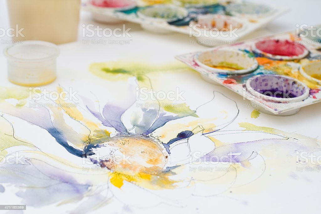 Artists watercolor in progress royalty-free stock photo