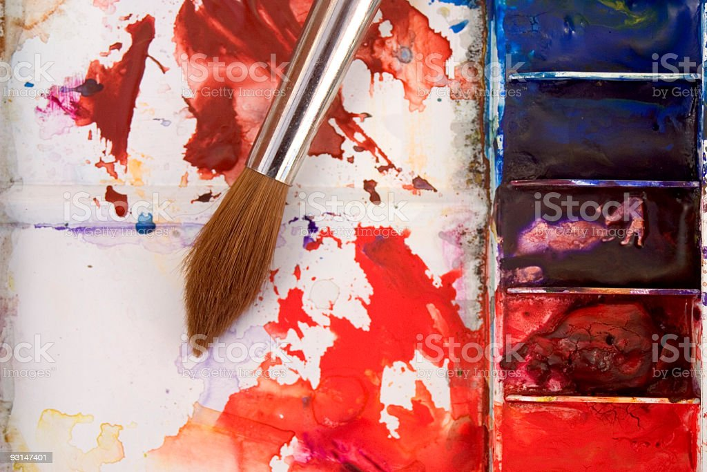 Artists watercolour paint palette close up