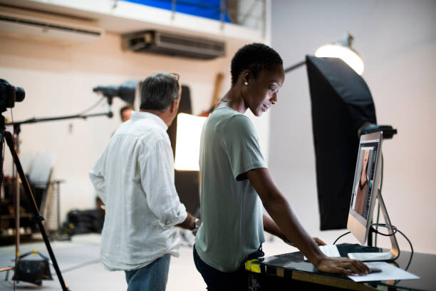 Artists working in a studio stock photo