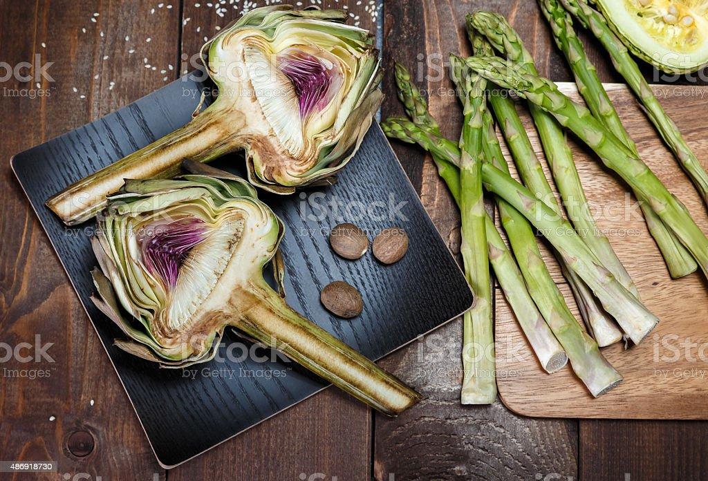 artochoke and aspargus stock photo