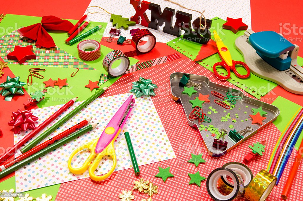 Craft Supplies Christmas Part - 38: Arts And Craft Supplies For Christmas. Royalty-free Stock Photo