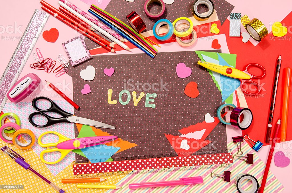 Arts and craft supplies for Saint Valentine's. stock photo