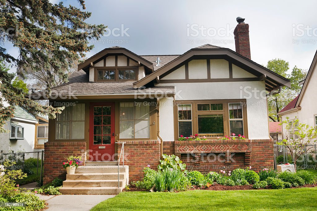 Arts and Crafts Bungelow House, Residential Exterior Facade, Midwest USA stock photo