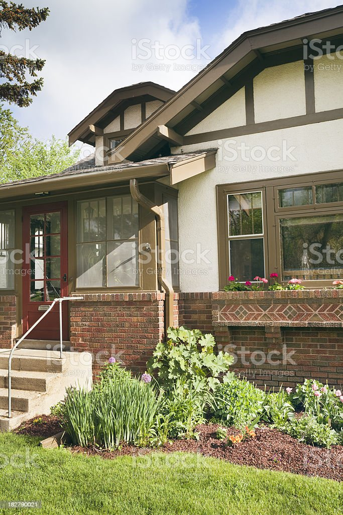 Arts and Crafts Bungelow Residential House Exterior Front Facade Entrance royalty-free stock photo
