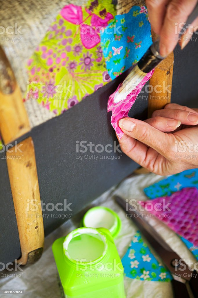 Arts and crafts: Decoupage stock photo