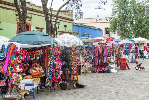 OAXACA, MEXICO - MARCH 4: Row of shops selling arts and crafts in Oaxaca, Mexico on March 4, 2017
