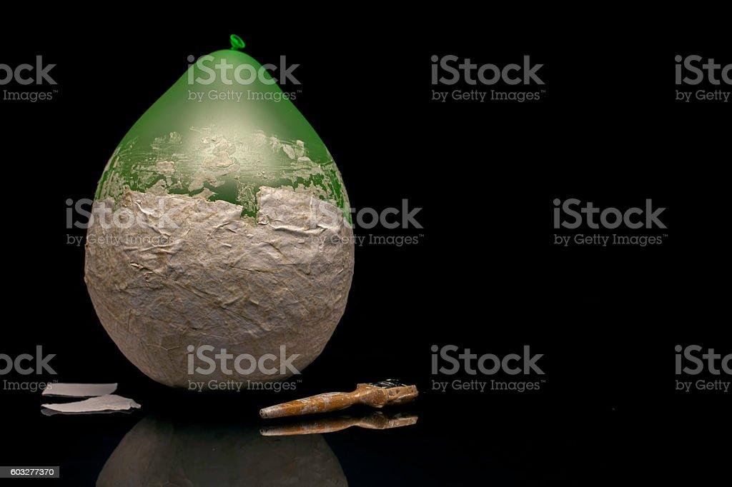 Arts and crafts - papier-mâché balloon stock photo