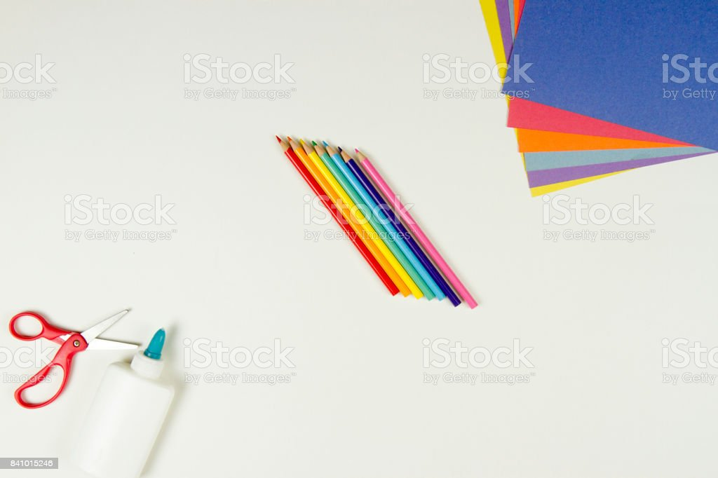 Arts and Crafts supplies on white stock photo