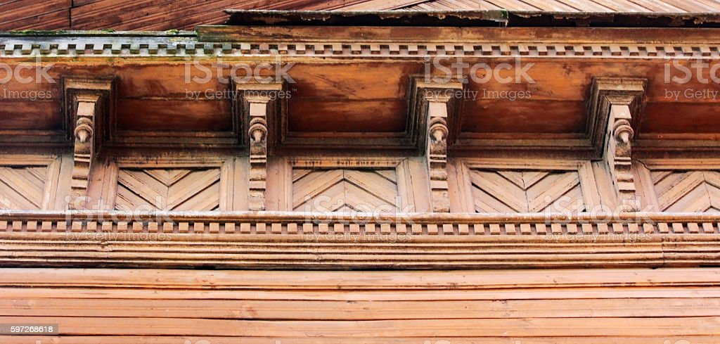 artsy decor trim and classic old wooden house. triangular patterns royalty-free stock photo