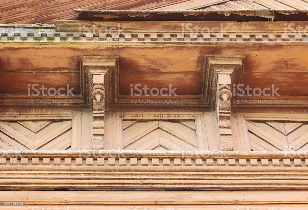 artsy decor trim and classic old wooden house. triangular patterns Lizenzfreies stock-foto