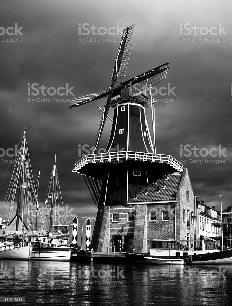 Artsy Dutch Windmill (B&W) stock photo