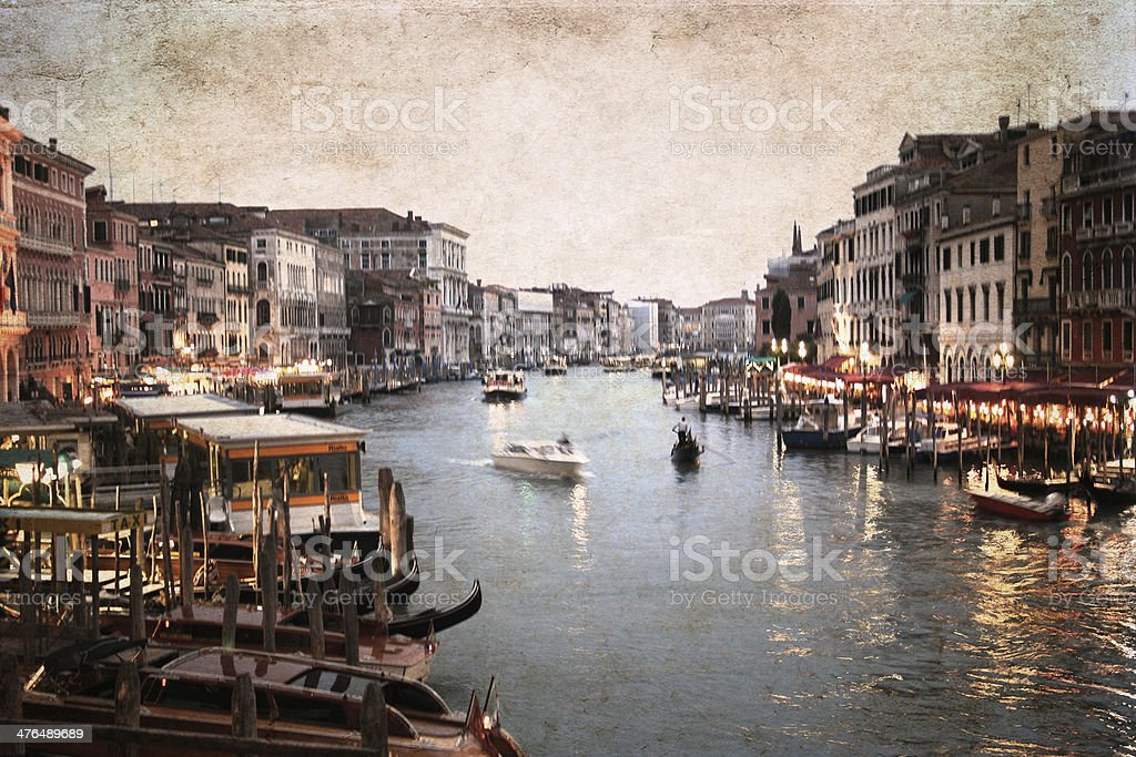 artwork  in grunge style,  Venice royalty-free stock photo