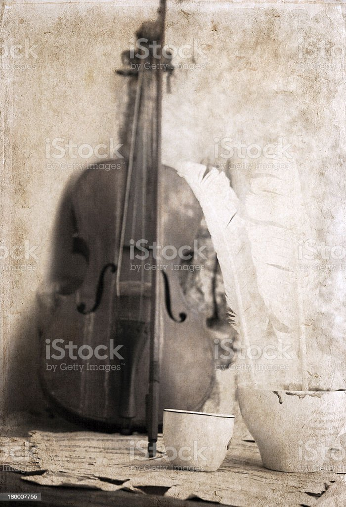 artwork  in retro style, cup of coffee and violin royalty-free stock photo