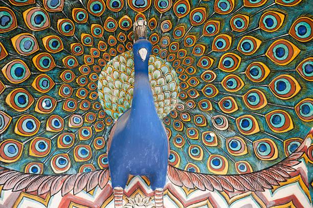 kunstwerke in der indischen stadt-palast - pfau bilder stock-fotos und bilder