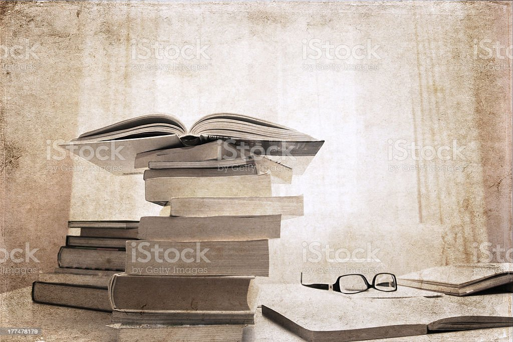 artwork  in vintage  style, books,  library royalty-free stock photo