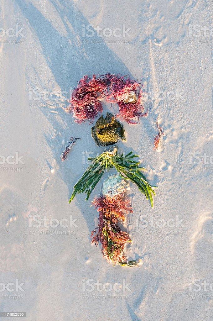 Artwork on a beach stock photo