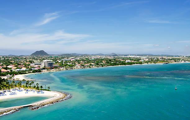 aruba aerial view - aruba stockfoto's en -beelden