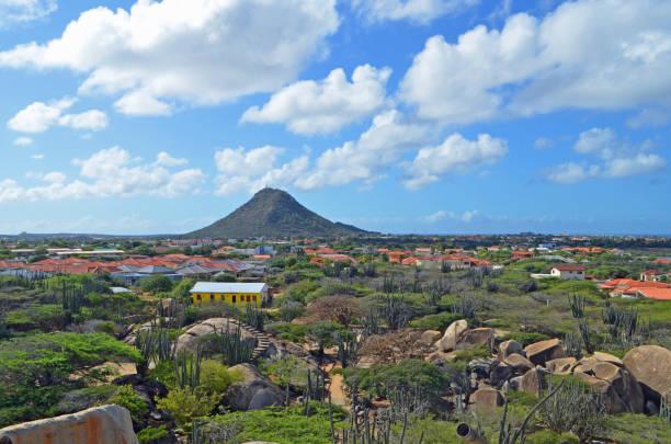 Aruba Casibari Rock Viewing Hooiberg Hill stock photo