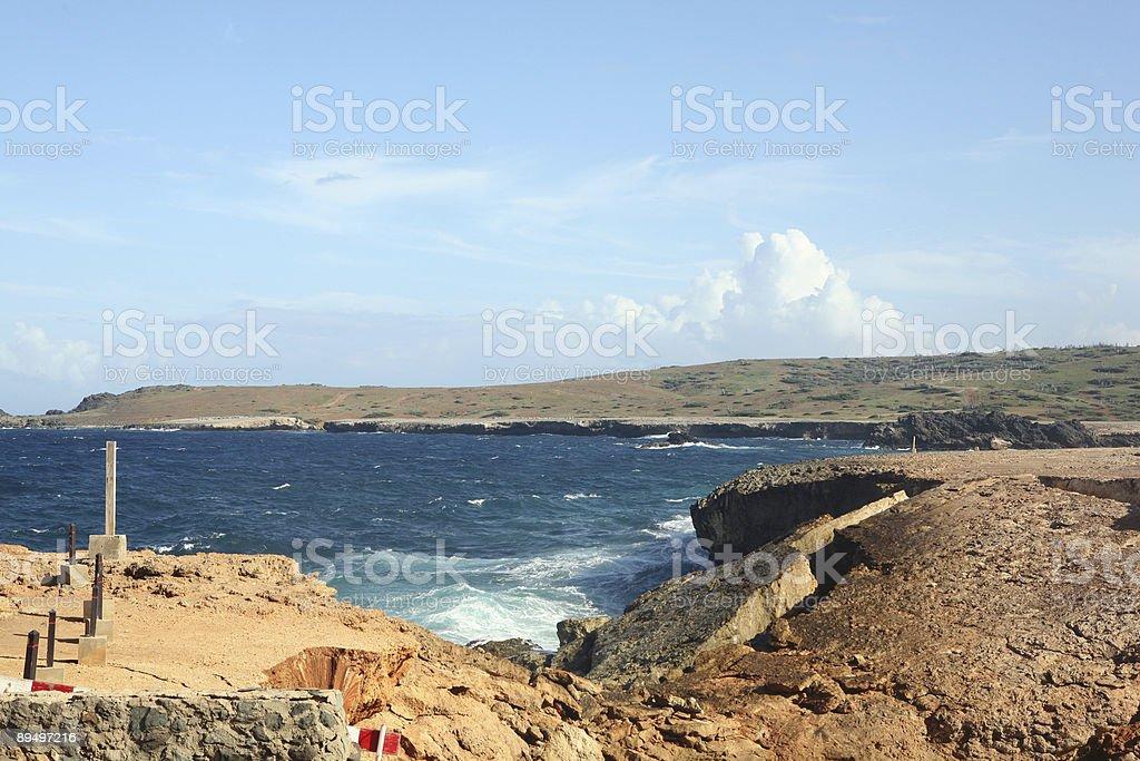 Aruba - collapsed Natural Bridge royaltyfri bildbanksbilder