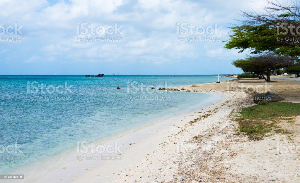 Aruba -view of Northern beach -Malmok stock photo