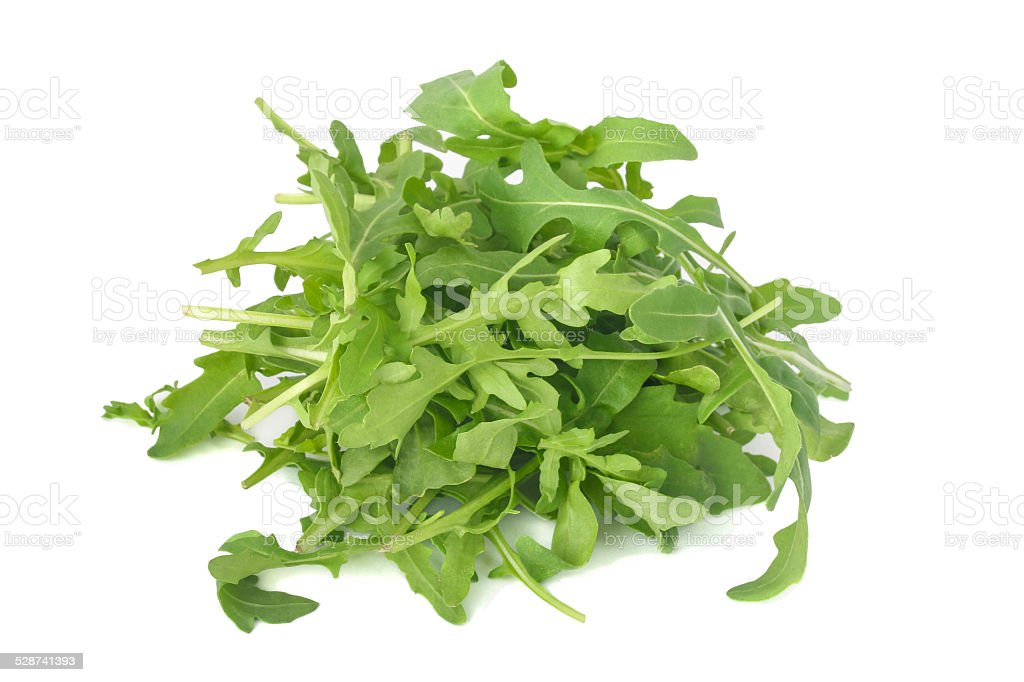 Arugula leaves isolated on white stock photo