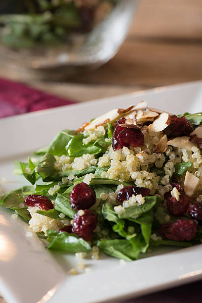 Arugula Quinoa Salad with Sliced Almonds and Cranberries Fresh arugula quinoa salad with sliced almonds and cranberries quinoa stock pictures, royalty-free photos & images