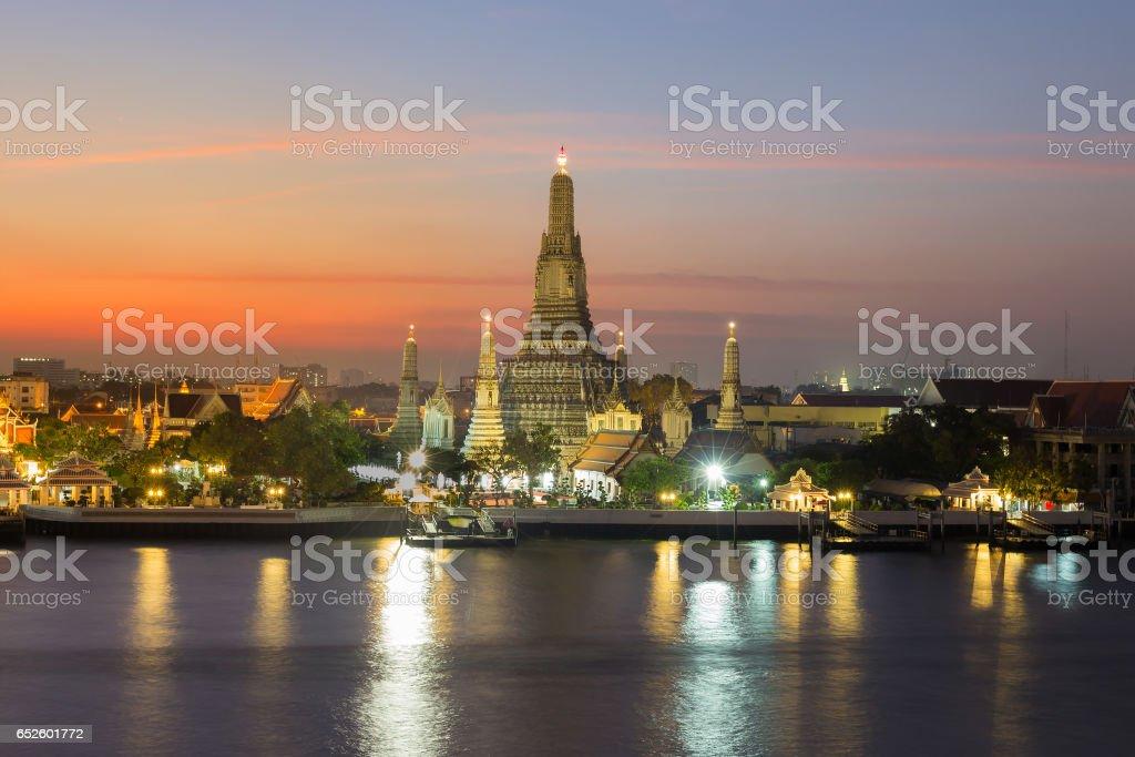Arun temple over Bagnkok central river stock photo