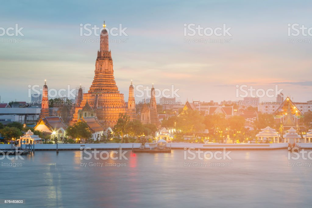 Arun temple river front after sunset stock photo