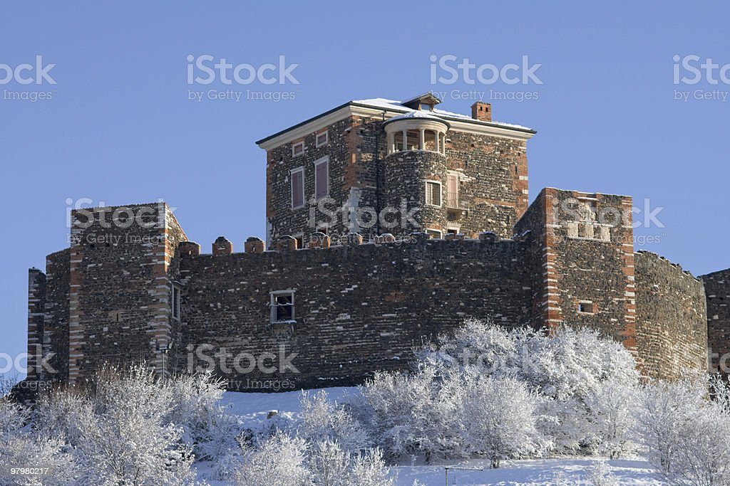 Arzignano Castle in the snowy winter royalty-free stock photo