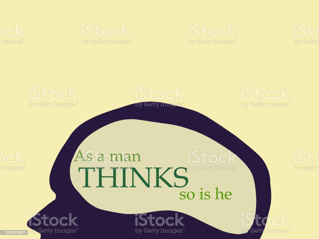 As a man thinks illustration stock photo