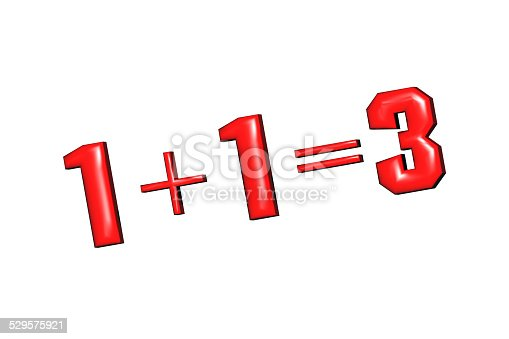 istock 1+1=3 as mathematical calculations on a white background 529575921