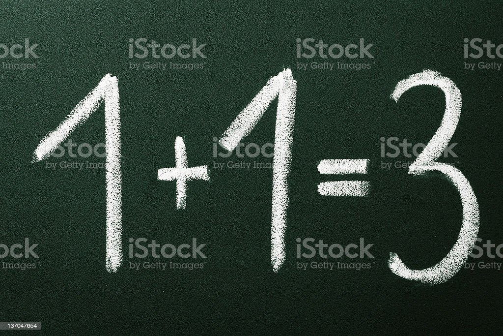 1+1=3 as mathematical calculations on green blackboard stock photo