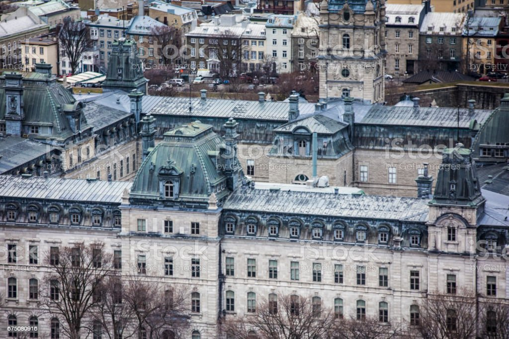 As seen from Grande Allée, view of the beautiful Quebec Parliament, where the Quebec government members sit to make decisions about the province affairs. stock photo