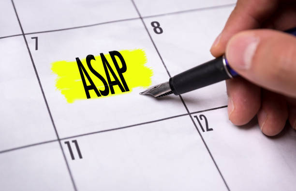ASAP - As Soon As Possible ASAP - As Soon As Possible calendar note ASAP stock pictures, royalty-free photos & images