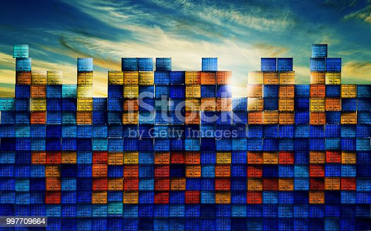 Photo manipulated image of cargo containers making up the words Tit for Tariff.