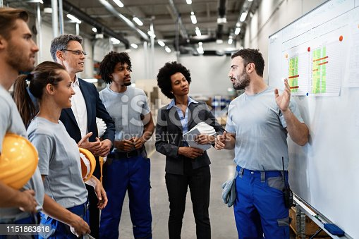 Young manual worker presenting new business strategy to company managers and his colleagues in a factory.